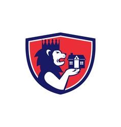 King Lion Holding House Crest Retro vector image