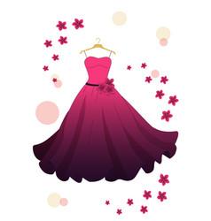 Pink evening dress vector