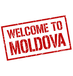 welcome to moldova stamp vector image vector image