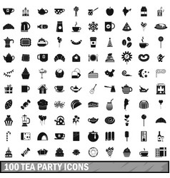 100 tea party icons set simple style vector image vector image