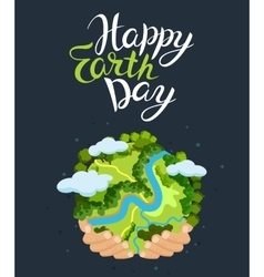 Earth day concept Human hands holding floating vector image vector image