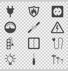 electricity icon in flat style on isolated vector image