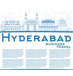 Outline hyderabad skyline with blue landmarks vector