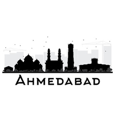 Ahmedabad City skyline black and white silhouette vector image vector image