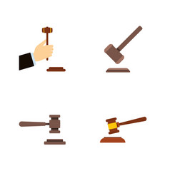 Flat icon court set of tribunal law legal and vector