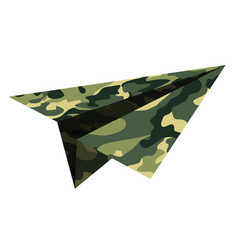 military camouflage a paper airplane childrens vector image