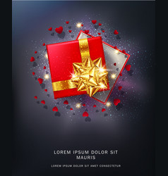 Red gift box with a gold bow vector