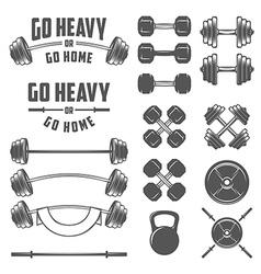 Set of vintage gym equipment design elements vector image vector image