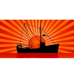 sunset at sea vector image vector image