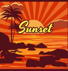 tropical beautiful sunset landscape palms sea vector image