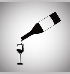 wine bottle pouring glass cup image vector image