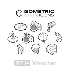Isometric outline icons set 24 vector image