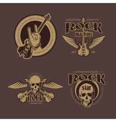Rock and Roll color vintage emblems labels vector image vector image