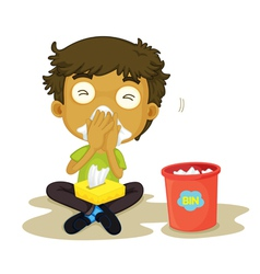 Sneezing boy vector