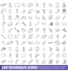 100 technique icons set outline style vector