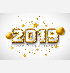 2019 happy new year with 3d vector image