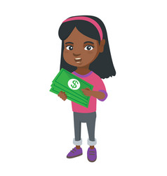 african-american girl holding money in hands vector image