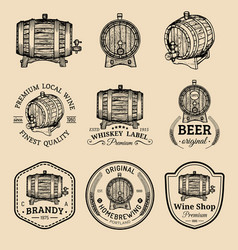 Alcohol logos wooden barrels set with drinks vector