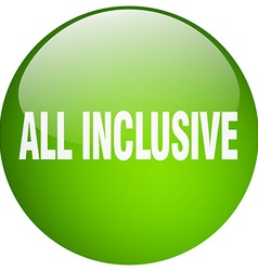 All inclusive green round gel isolated push button vector