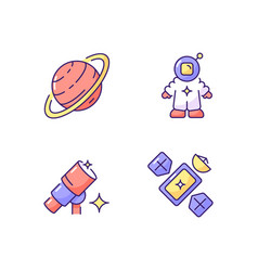 Astronautic rgb color icons set vector