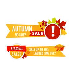 autumn sale flyers seasonal sale banners vector image