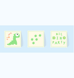 Big dino party print cards for invitations for vector
