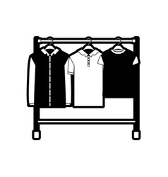 Black sections silhouette of male clothes rack vector