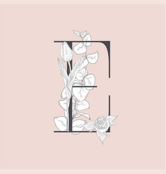 Blooming floral elegant e monogram and logo vector