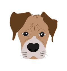 boxer dog cute head and expression face - hand vector image