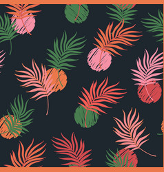 bright palm leaf line art seamless pattern vector image