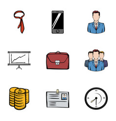 Businesscenter icons set cartoon style vector