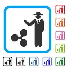 Businessman show ripple framed icon vector
