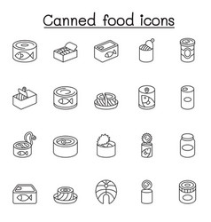 Canned food preserved food icons set in thin vector