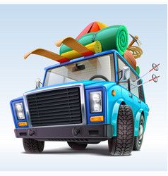 car with winter travel outfit vector image
