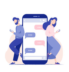 chat talk young people with smartphones vector image