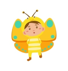 Child Wearing Costume of Butterfly vector image