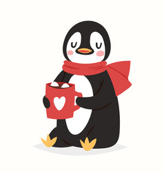 Christmas penguin character cartoon cute vector