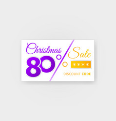 Christmas sale 80 percent discount coupon vector