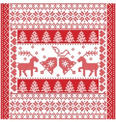 Christmas tile style withe reindeer and bells vector image