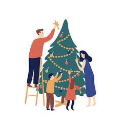 christmas tree decoration flat vector image