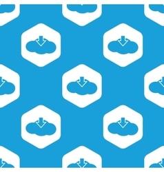 Cloud download hexagon pattern vector image