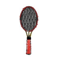 Color crayon stripe cartoon tennis racquet with vector