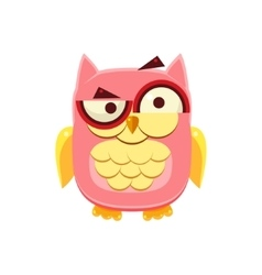 Confused pink owl vector