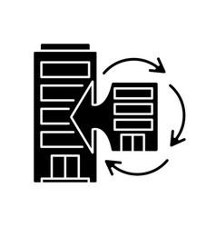 Corporate synergy black glyph icon vector