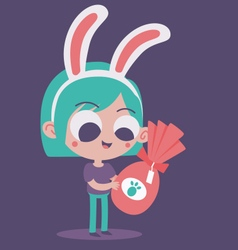 Cute Bunny Girl in Love Holding a Present vector image