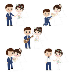 cute cartoon beautiful bride and groom couples in vector image