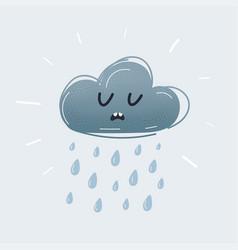 Cute cartoon icon raining cloud with sad vector