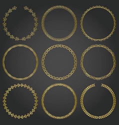 Decorative gold frames and borders round set vector