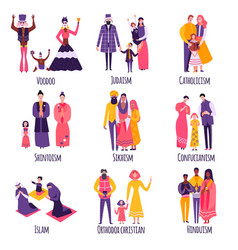 different religious families flat set vector image