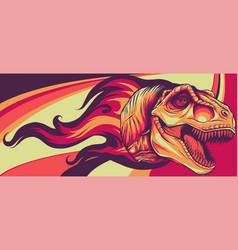 Dinosaurus tyrannosaurus rex head with flames vector